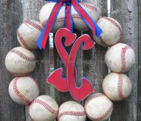 Baseball Love Wreath - With Two DISTRESSED Letters or Numbers