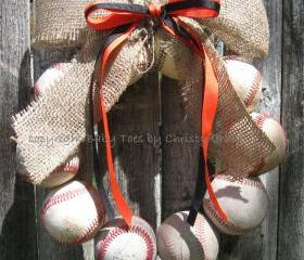 Burlap Baseball Love Wreath with Distressed Letter
