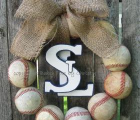 Saint Louis Cardinals Burlap Baseball Love Wreath with STL
