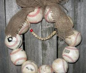 Burlap Baseball Love Wreath with letters
