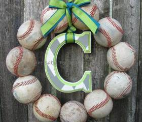 Welcome Baby Baseball Love Wreath